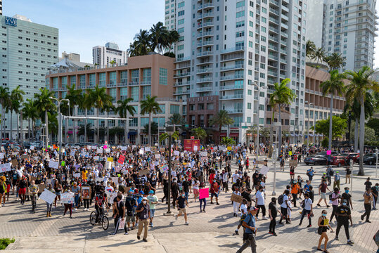 Miami Downtown, FL, USA - MAY 31, 2020: Miami big Peaceful Demonstration in downtown. Protesters in Florida. Protesters gather in Miami for protests for.