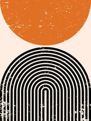 Abstract contemporary aesthetic background with geometric balance shapes, rainbow and sun. Boho wall decor. Mid century modern print. Neutral minimalist art. Organic shape.