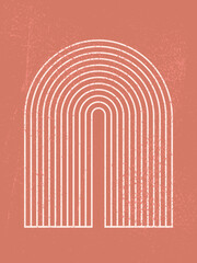 Abstract contemporary aesthetic background with geometric shape, rainbow gates. Boho wall decor. Mid century modern minimalist neutral art print. Organic shape. Terracotta color, earth tone.