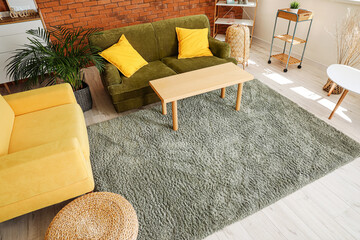 Wall Mural - Stylish interior of living room with carpet