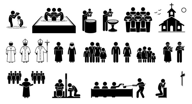 Christian religion practices and activities in church stick figures icons. Vector artwork of pope, priest, pastor, nun, and Christians followers. Cliparts of baptism, holy mass, confession and prayer.