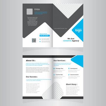 Bi-fold Brochure Template Design.Corporate & Business Concept Design.