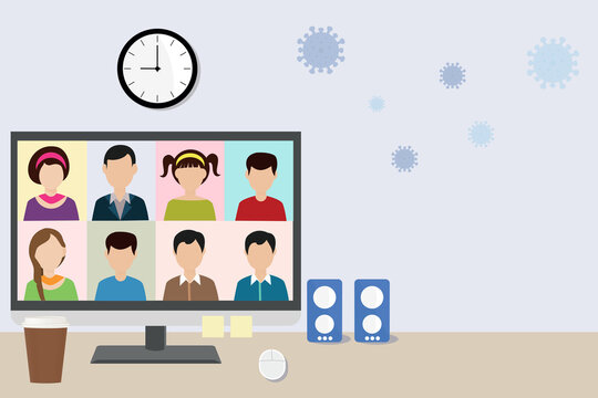 Illustration of group of friends or colleagues in a video conference webinar online meeting on laptop computer screen to prevent coronavirus or covid-19 virus pandemic with copy space