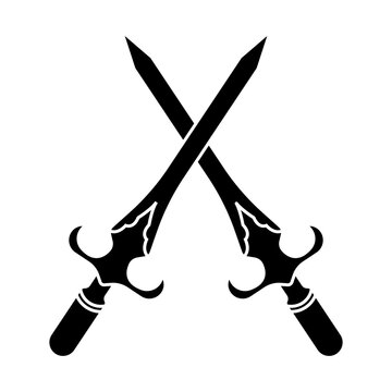 crossed of dagger or short knife for stabbing flat icon for apps and websites