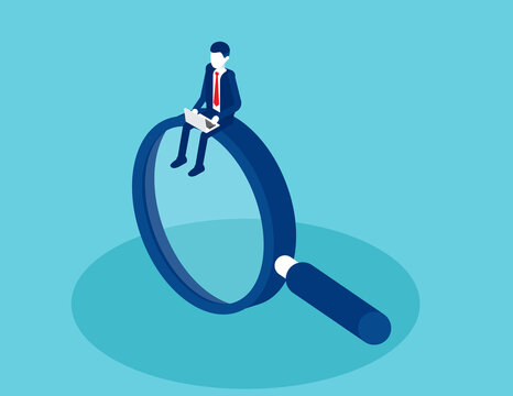 Man with a laptop on a large magnifying glass. Isometric business vector design