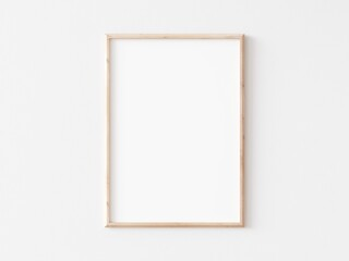 Thin vertical wooden frame on white wall. 3d illustration.