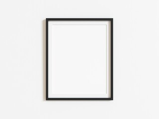 Black vertical frame mockup on white wall. 3d illustration.
