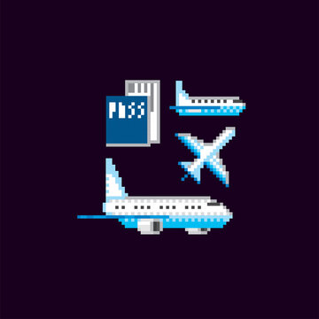 Airplane, passport, ticket. Air transport icons set. Pixel art. Old school computer graphic. Element design stickers, logo, mobile app, menu. 8 bit video game. Game assets 8-bit sprite. 16-bit.