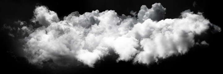 white cloud on black background. Wide sky and clouds dark tone.