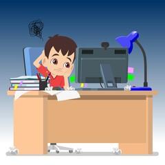 A boy struggling on computer study