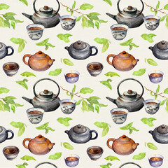 Tea seamless pattern - fresh green leaves, chinese pots, asian traditional cups. Watercolor repeating background