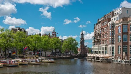 Wall Mural - Amsterdam cityscape with view of canal and church time lapse