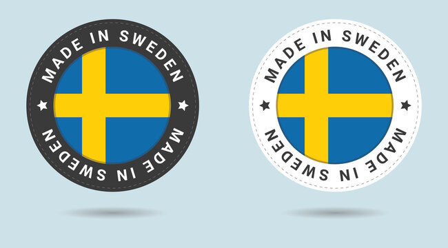 Set of two Swedish stickers. Made in Sweden. Simple icons with flags.
