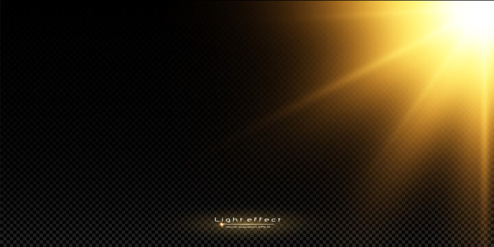 Shining golden stars isolated on black background. Effects, glare, lines, glitter, explosion, golden light. Vector illustration