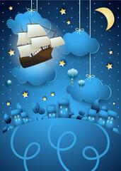 Obraz Fantasy landscape by night with flying vessel and lights - fototapety do salonu
