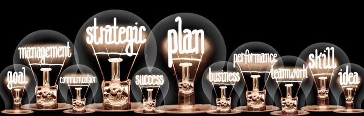 Light Bulbs with Strategic Plan Concept