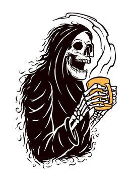 skull grim and coffee vector illustration