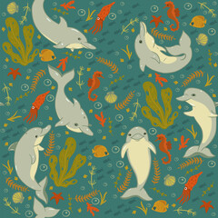 Seamless pattern with dolphins and sea animals. Vector graphics.