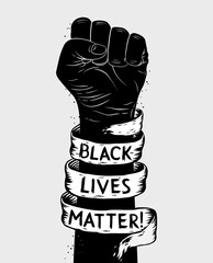 Canvas Prints Wall Decor With Your Own Photos Protest poster with text BLM, Black lives matter and with raised fist