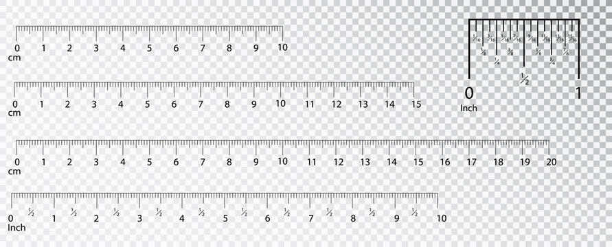 Rulers Inch and metric rulers. Measuring tool. Centimeters and inches measuring scale cm metrics indicator. Scale for a ruler in inches and centimeters. Measuring scales.