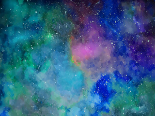 Space background with realistic nebula. Colorful cosmos with stardust and milky way. Magic color galaxy. Infinite universe. Vector Wall mural