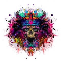 Colored evil viking skull on background