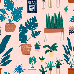 Urban jungle seamless pattern. Cartoon flat hand drawn potted houseplants modern scandinavian design background for wrapping paper, wallpaper, fabric textile. Pink and gold