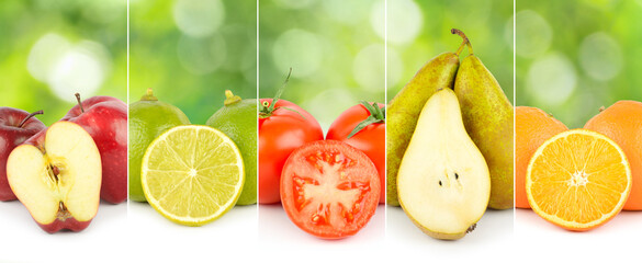 Wall Mural - Closeup panoramic photo of fruits and vegetables separated by vertical lines