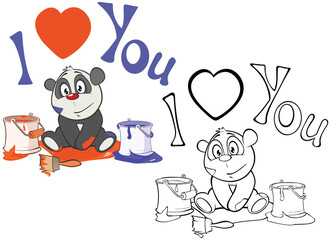 Tuinposter Babykamer Vector Illustration of a Cute Cartoon Character Panda for you Design and Computer Game. Coloring Book Outline Set