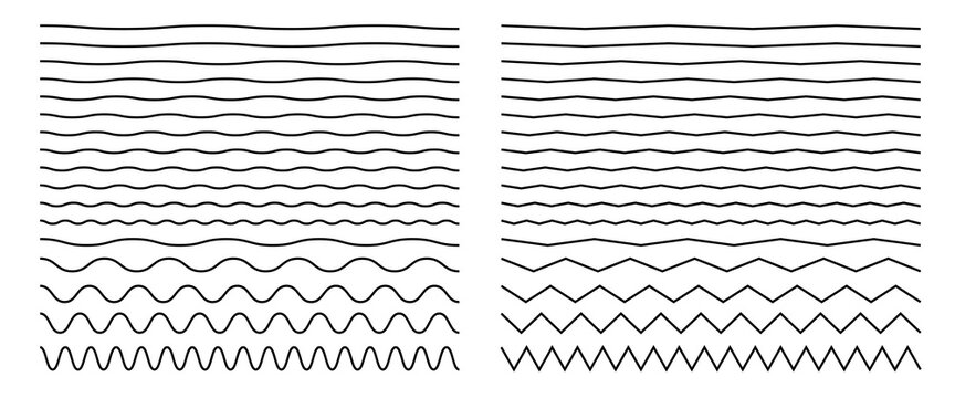 Seamless wavy zigzag line set. Graphic design elements collection for decoration. Horizontal curvy squiggles