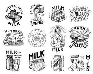 Fototapeta Milk set. Cow and woman farmer, milkmaid and jug, blot and bottles, packaging and meadow, man holds a glass. Vintage logo for shop. Badge for t-shirts. Hand Drawn engrave sketch. Vector illustration. obraz