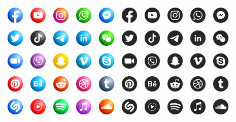 Popular Social Media Modern 3D And Flat Round Icons Vector Set On White Background. Facebook Youtube Instagram Whatsapp Messenger Twitter Tiktok Viber Behance Linkedin Snapchat Skype Reddit Pinterest