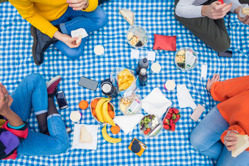 Four people friends unrecognizable outdoor camping having pic nic on checked tablecloth