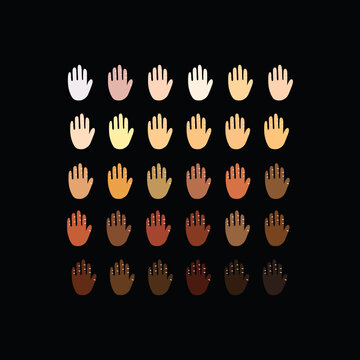 Raised hands of different race skin color. Vector illustration. hands with skin color diversity vector background. Black lives matter concept icons, social, national, racial issues symbols.