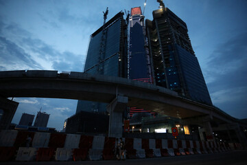 New office buildings under construction are pictured in Kuala Lumpur