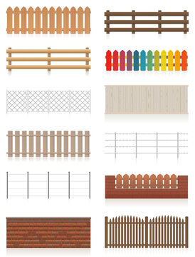 Fences set. Different fences like wooden, garden, electric, picket, pasture, wire fence, wall, barbwire and other railings. Isolated vector illustration on white background.