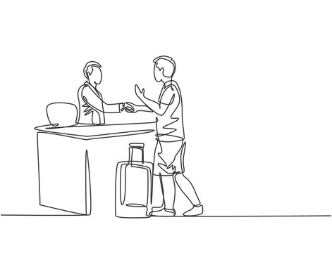 One line drawing of young male tourist handshaking hotel receptionist and ask to book a room while holding a luggage. Travelling concept. Modern continuous line drawing graphic vector illustration