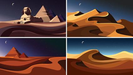 Garden Poster Brown Set of night desert landscapes. Beautiful sand sceneries.