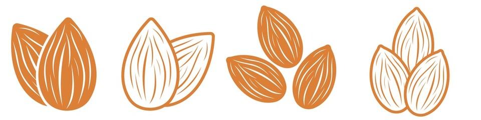 Almond icon set. Nut vector illustration isolated  on white background.