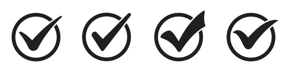 Fototapeta black check mark icon set isolated on white background. circle tick approved symbol. vector Illustration