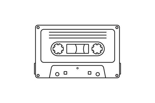Old music cassette tape icon in flat style,  isolated on white background, Retro music audio cassette, vector illustration