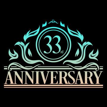 Luxury 33rd anniversary Logo illustration vector