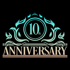 Luxury 10th anniversary Logo illustration vector