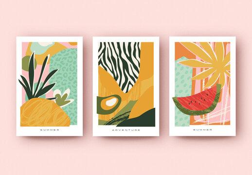 Summer Poster Layout Set