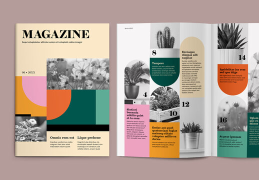 Magazine Layout with Colorful Accents