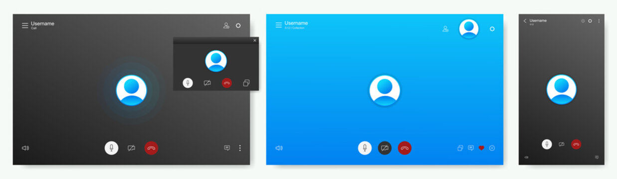 Mockup Call Screen for PC or smartphone. UI, UX, KIT, Skype app interface. Layout screens. Application for calls and video communications. Skype call screen mockup. Vector App template set