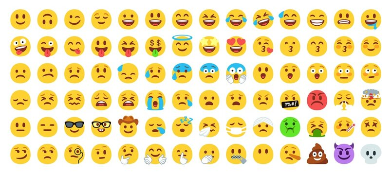 Flat yellow emoji collection. Happy smile, sad crying face and angry facial expressions. Emoticons vector icons set