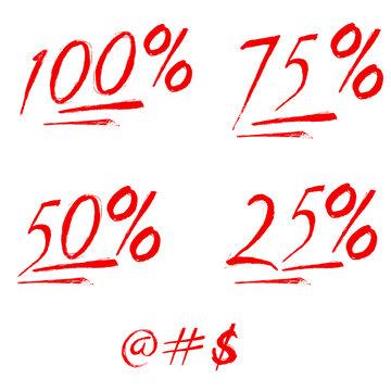 100% 75% 50% 25% percent emoji. One hundred percent sign. Vector