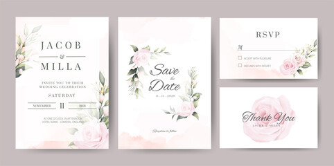 wedding invitaion card set template design with pink rose watercolor and gold leaf