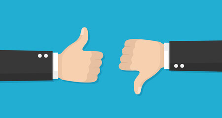 Thumbs up and down vector flat icon